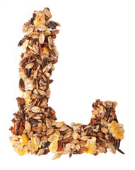 Horse sportive muesli as letter O. over white