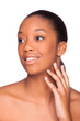 Beautiful african american woman face- Black people, Isolated ov