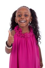 Little african american girl making thumbs up gesture - Black pe