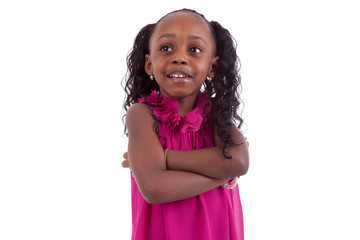 Little african american girl with folded arms - Black people