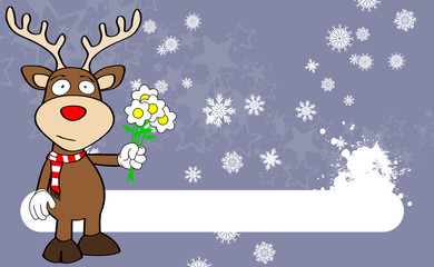 xmas reindeer cartoon expression background1