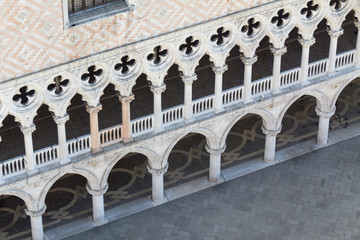 Facade of the Ducal Palace in Venice from above
