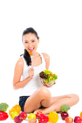Asian Chinese woman eating healthy salad