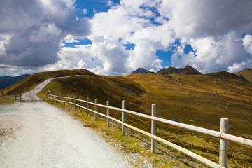 Empty ski slope in Tyrolean Alps in autumn, Austria