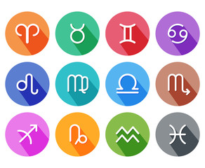 Flat trendy zodiac symbols with shadows. Vector