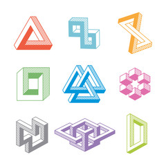 Colorful impossible geometric shapes. Vector