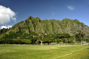 View of valley and mountains in North Shore, Oahu, Hawaii