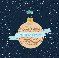 vintage Christmas greeting cardwith ball
