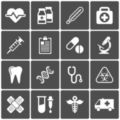 Medical icons on black background. Vector