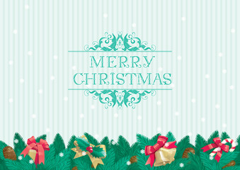 "Vector background of  decorations and text ""Merry Christmas!"""
