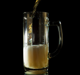 beer pouring into a tall mug isolated