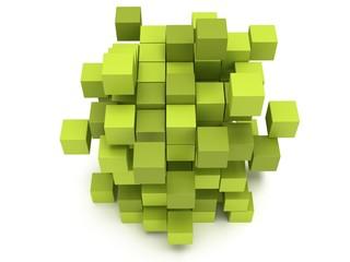 Explosion Cubes block. Assembling concept.