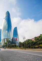 Baku - MARCH 10, 2014: Flame Towers on March 10 in Azerbaijan, B