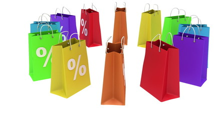 Colorful shopping paper bags animation