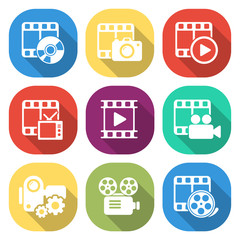Trendy flat media icon pack. Vector