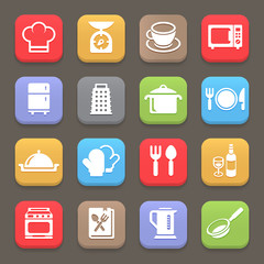 Kitchen cooking icons for web or mobile. Vector