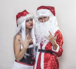 Beautiful girl and Santa Claus rocking