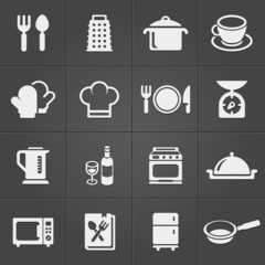 Kitchen icons on black background. Vector