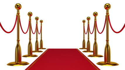 Animation of golden rope barrier with red carpet.