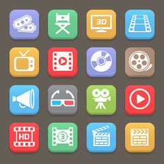 Cinema and movie icons for web or mobile. Vector