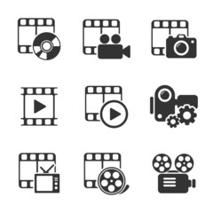 Media icon pack on white. Vector elements