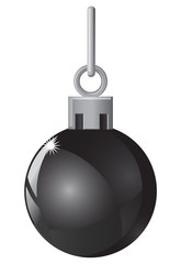 Black Christmas ball in white background