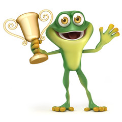 Frog with trophy