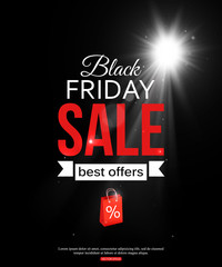 Black friday sale shining typographical background with and