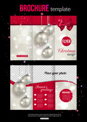 Christmas trifold brochure template. Abstract flyer design with