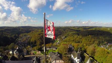 House Lannister banner aerial, castle Lannisport, Casterly Rock