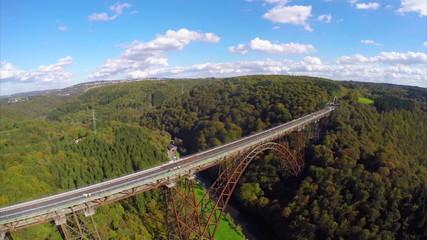 High railroad bridge in Germany Solingen, aerial shot, sunny