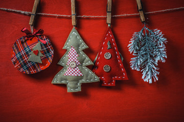 Christmas handmade toys hanging on a rope