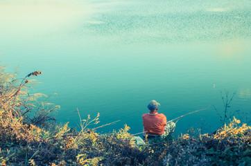 川釣り夕景
