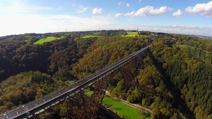 Railroad bridge aerial, spectacular view Solingen Germany Europe