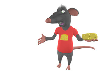 illustration of a cartoon mouse showing blank place