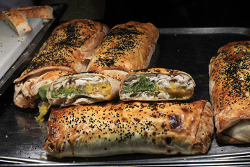 Tray with turkish baked rolls