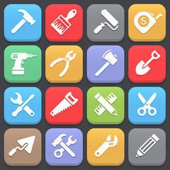 Working tool icons for web or mobile. Vector