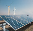 solar panels and wind power farm - 73336387