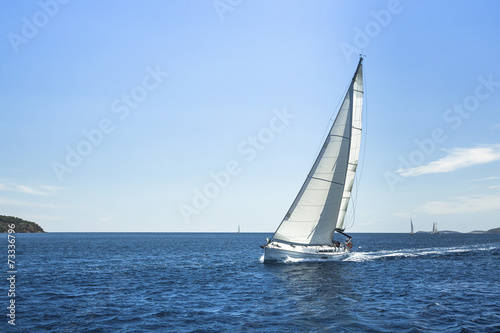 canvas print picture Sailing. Boat in sailing regatta. Luxury yachts.