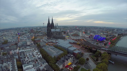 Large German city aerial, Cologne overview from above tourism