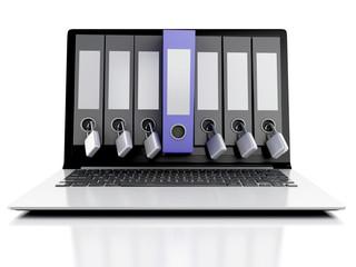 3d laptop and secret folder. Data security concept