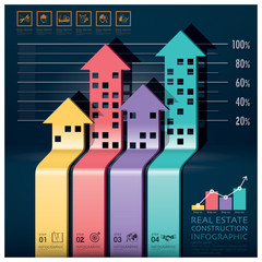 Real Estate And Construction Infographic With Building Arrows Di