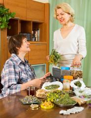 Two women brewing herbal tea