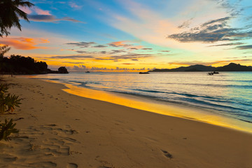 Sunset on tropical beach - Seychelles