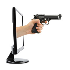 Hand with gun and tv