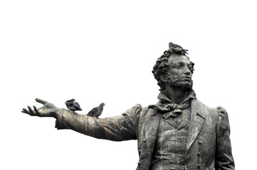 isolated monument to the great Russian poet Alexander Pushkin wi