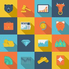 Finance exchange flat icons