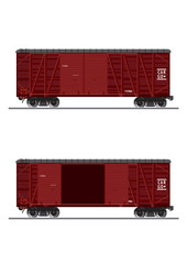 Side view of a clapboard cargo container.