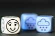 concept of happy snow / winter weather - emoticon and weather di