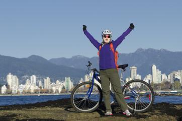 Young female bike rider achievement